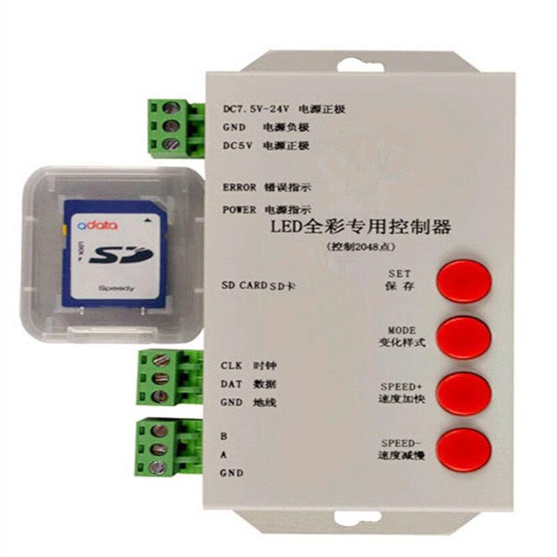 Tarjeta SD T1000S 2048 DC5-24V controlador de lámpara de tira de luz LED para WS2812B LPD8806 6803 WS2811 WS2801 RGB play video t-1000s