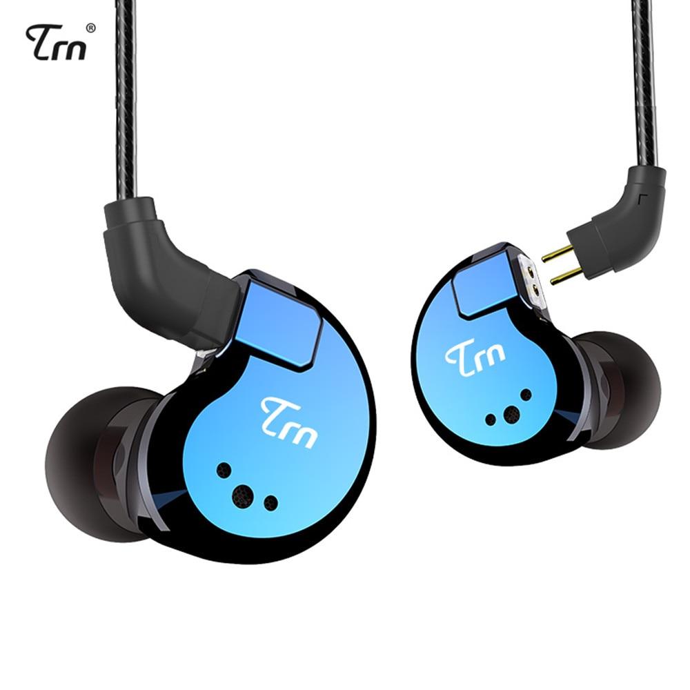 TRN V80 2BA + 2DD auriculares de Metal en la oreja híbridos IEM HIFI DJ Monito Running Sport auriculares de 2 pines desmontables