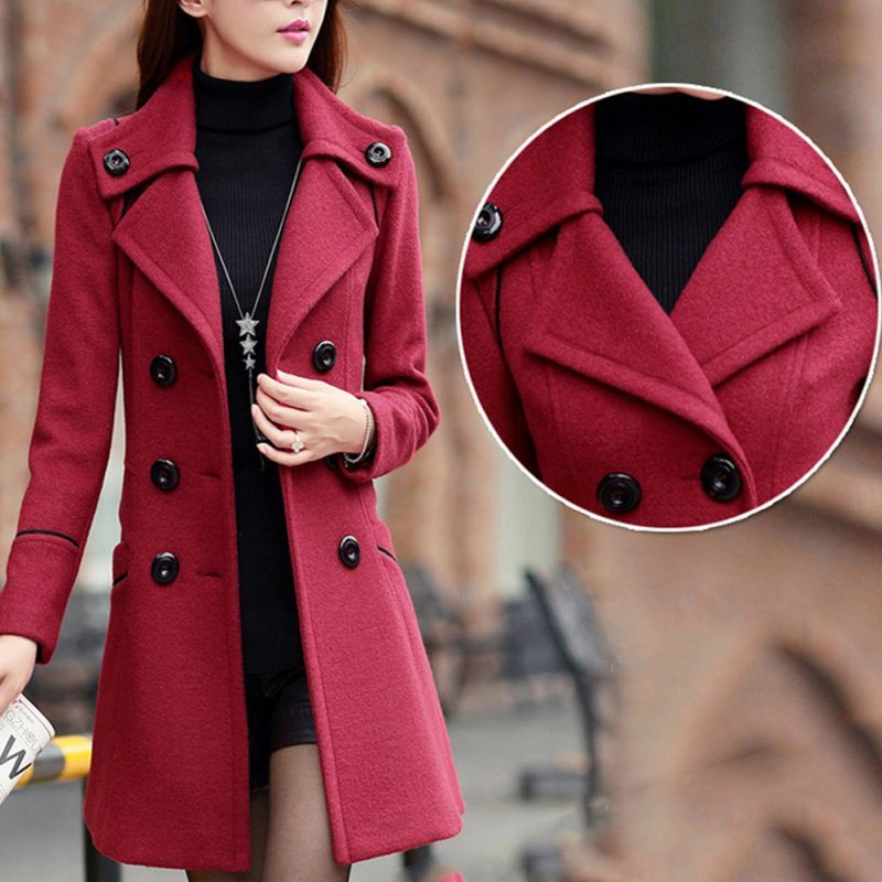 New Winter Women Wool Trench Pockets Double Breasted Long Overcoat Solid Slim Elegant Outwear Female