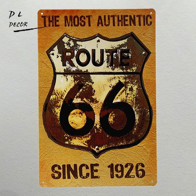 Pegatinas de pared dl-route 66 nostálgicas Retro Vintage de Metal, señal moderna