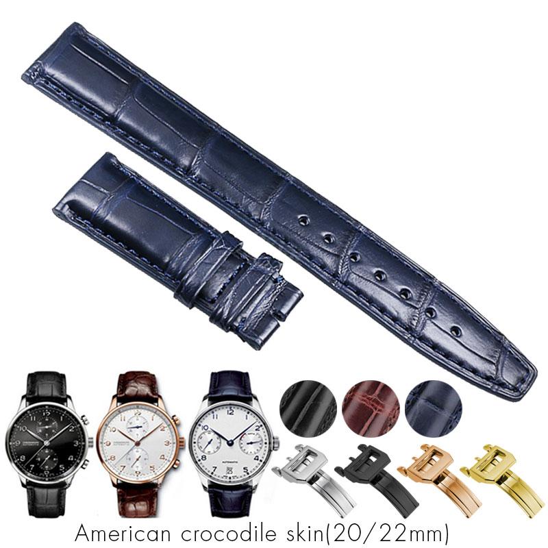 Crocodile Alligator Watchbands for IWC Portugues Pilot Genuine Leather Watch Band Bracelet Strap Man