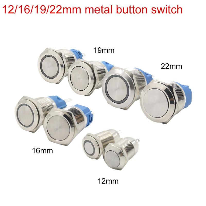 12/16/19/22 metall taste schalter self-locking und selbst-reseting ring 12 v 24 v 110 v 220 v wasserdichte schalter türklingel maschine