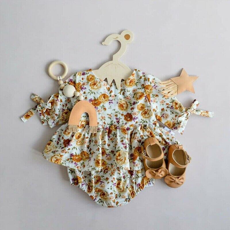 0-24M recién nacido chico bebé Niñas Ropa de verano de algodón de manga corta Floral mono elegante vestido Braga lindo trajes