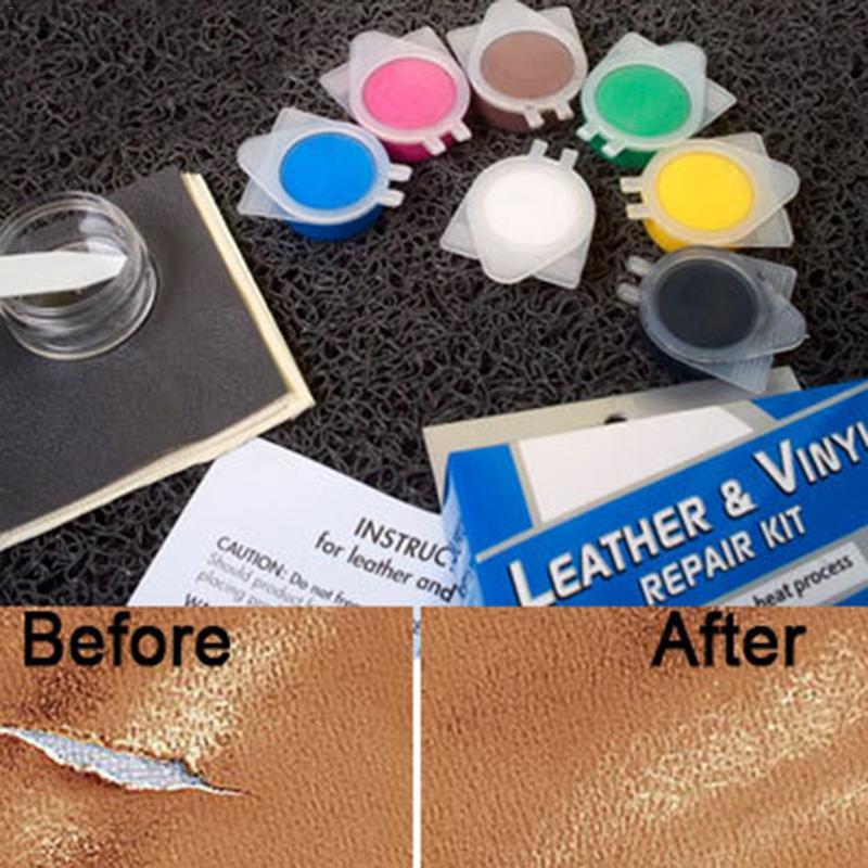 Cubierta de asiento de coche de cuero reparación Auto asiento sofá abrigos agujeros cero grietas cuero líquido de herramienta de la reparación de la restauración de buen precio