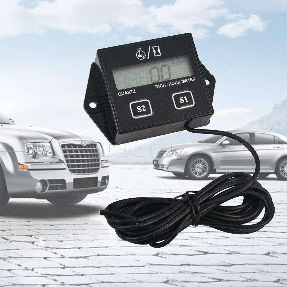 Цифровой тахометр Тахометр двигателя счетчик часов ЖК-дисплей индуктивный тахометр RPM Тахометр, датчик вращения для автомобиля лодки мотоцикла