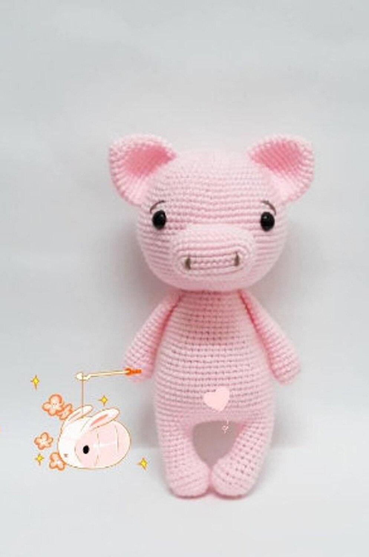 Juguetes de ganchillo amigurumi sonajero cerdo amante número wp036