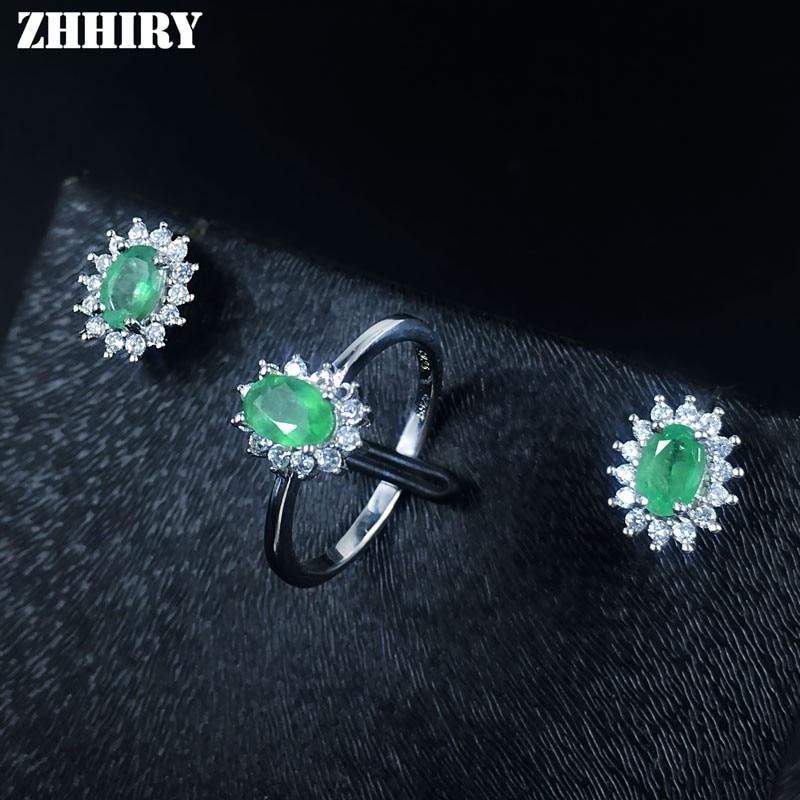 Natural esmeralda conjunto de jóias sólido 925 prata esterlina mulher pedra anel brincos preciosa jóia birthstone luxo jóias finas