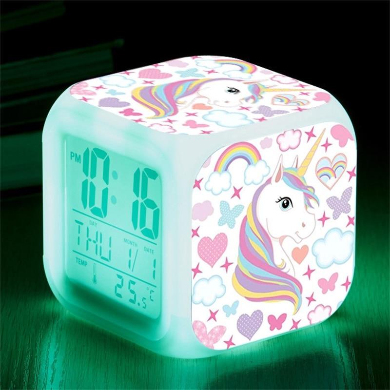 Reloj despertador LED Digital con luz cambiante de 7 colores para niños, despertador de Reloj de escritorio de unicornio, regalo para niños