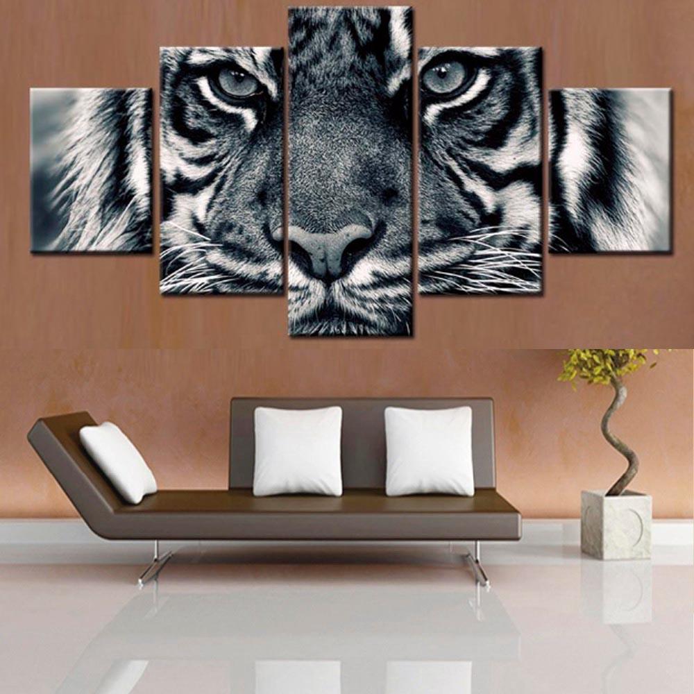 Cuadros en lienzo en módulos con diseño de marco para pared, arte HD, cartel impreso, decoración del hogar, 5 paneles, animales, Tigre, sala de estar, Cuadros