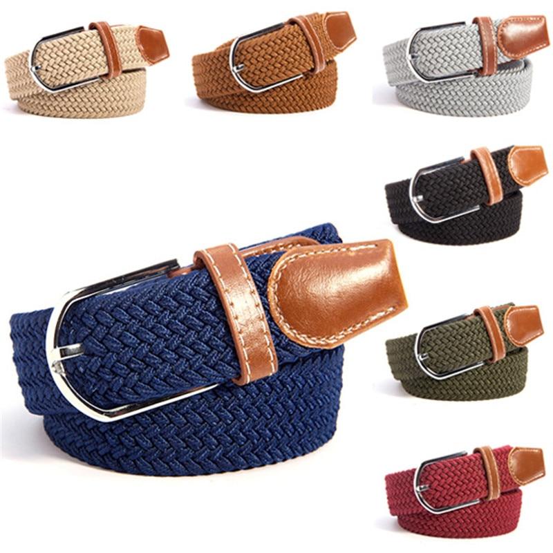 Unisex Canvas Woven Leather Pin Buckle Elastic Waist Belt Men Women Waistband