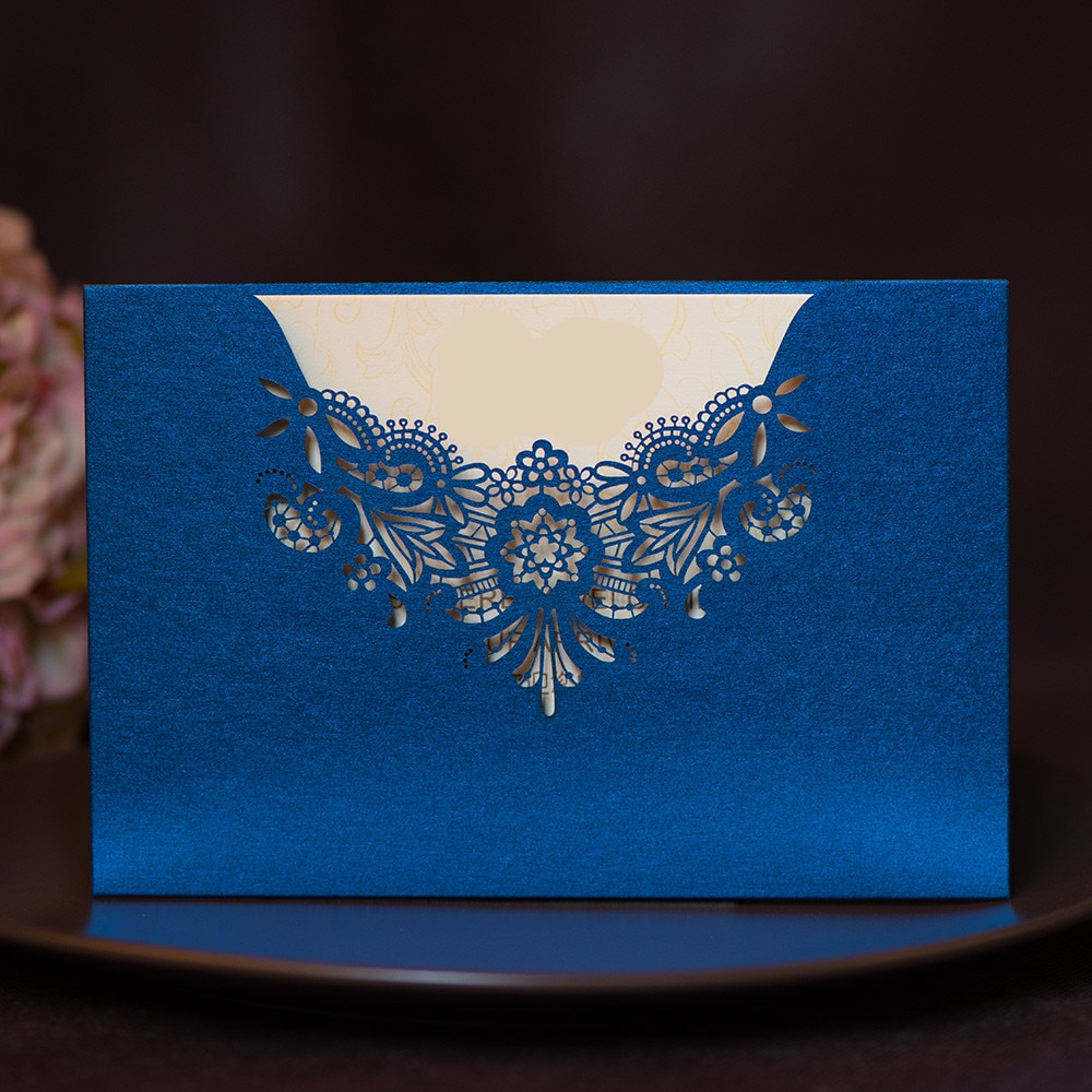 Purple Tiffany Blue Gold Laser Cut Wedding Invitations 50pcs Wedding Invitation Card Luxury Elegant Lace Blank Greeting Cards