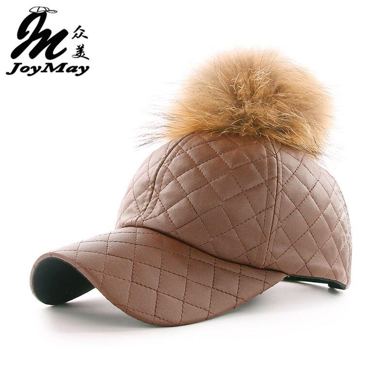 Gorra de béisbol de cuero de PU JOYMAY de invierno con pompón motero gorra snapback sombreros para hombres y mujeres WM044