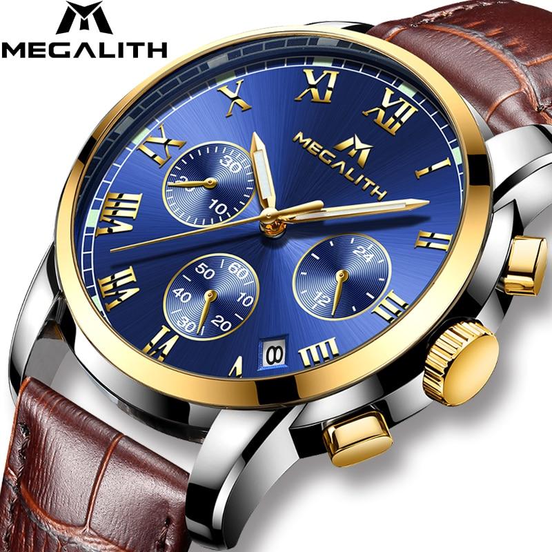Часы MEGALITH мужские, спортивные, водонепроницаемые, аналоговые, кварцевые, с секундомером, деловые