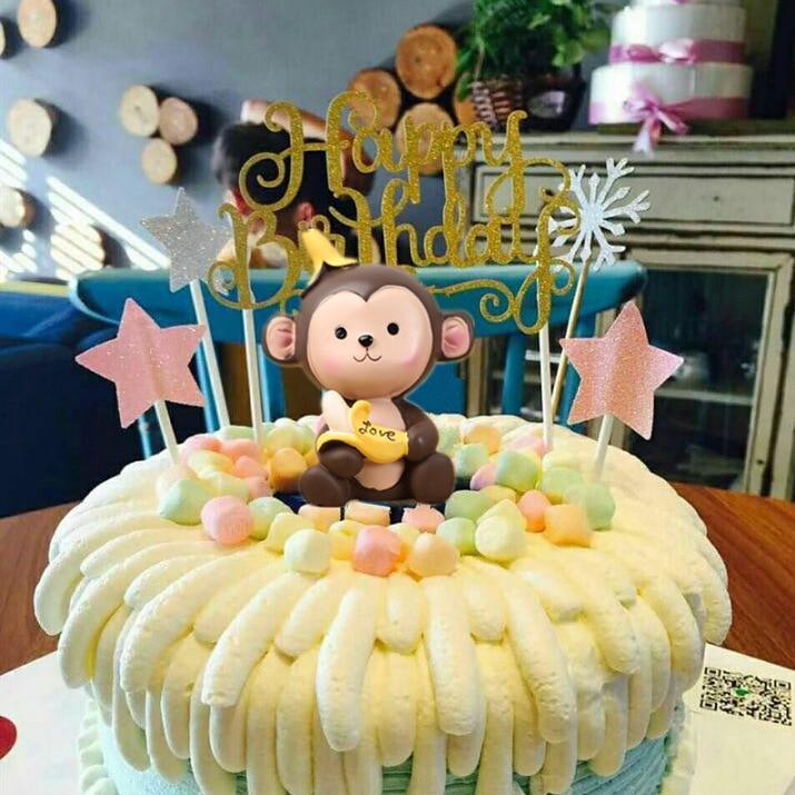 7CM lindo plátano mono escena pareja mono adornos decoración de pastel de cumpleaños