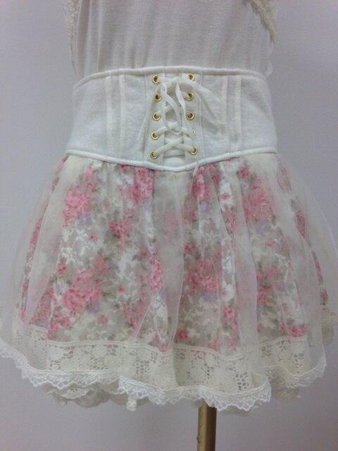 Pantalones de falda de cintura alta con cinturón de encaje de flores de LiZ lisa japonesa