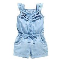 Детская одежда для девочек Комбинезон с голубыми хлопковыми джинсами-варенками без рукавов комбинезоны с бантиком 0-5Year Новый
