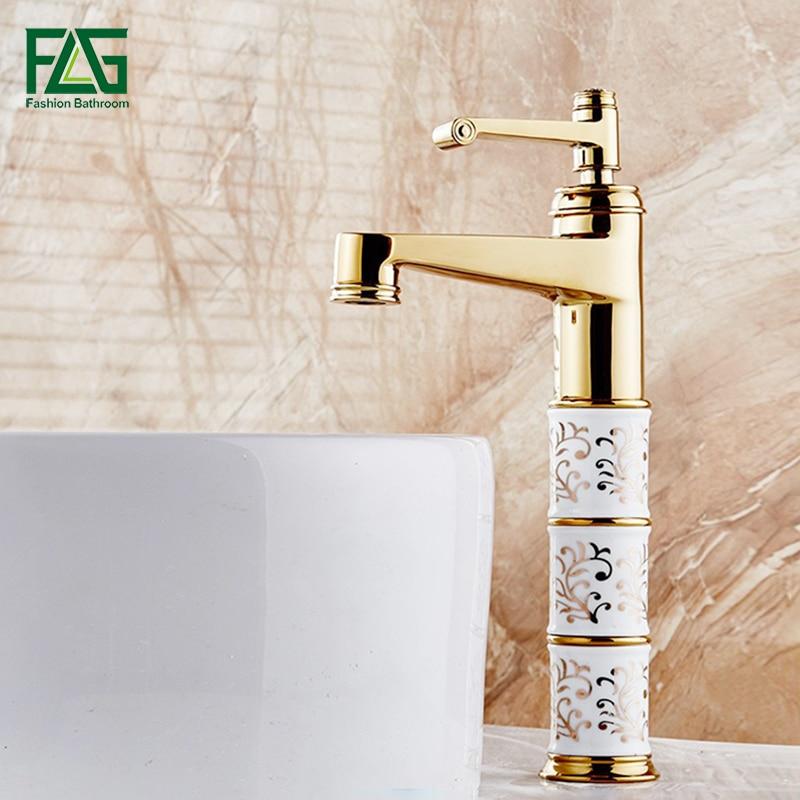 FLG حوض صنبور الذهب صنابير حمام منصة تعلية الباردة مع الماس و الخزف حوض غسيل صنبور حوض خلاط Robinet 154-22G