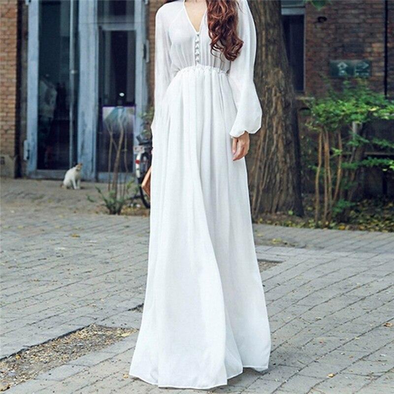 Vestido de gasa elegante de manga larga con cuello en V Sexy para mujer vestido de fiesta blanco bohemio informal para mujer Maxi vestido