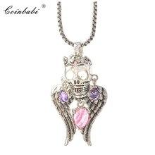 Lien chaîne pendentif collier crâne roi pavé cadeau pour les femmes, Thomas Style coeur 925 en argent Sterling mode Punk squelette bijoux