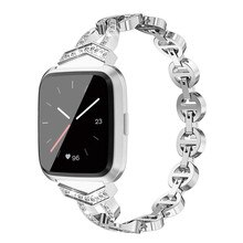 De lujo de la moda de las mujeres correas para Fitbit viceversa Cristal de repuesto reloj de Metal banda de la muñeca gancho de la correa hebilla regalos