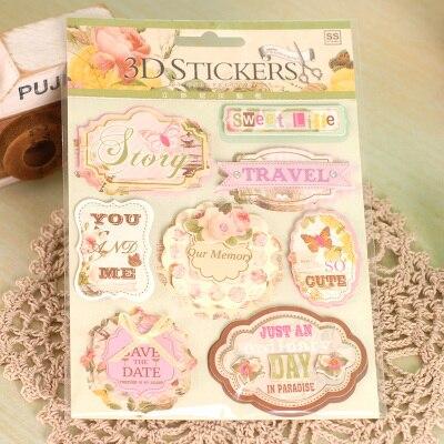 Etiquetas delicadas y dulces para álbum de recortes, tres calcomanía dimensional, marco de papel 3D, etiquetas para viaje, diario, 6 hojas/lote