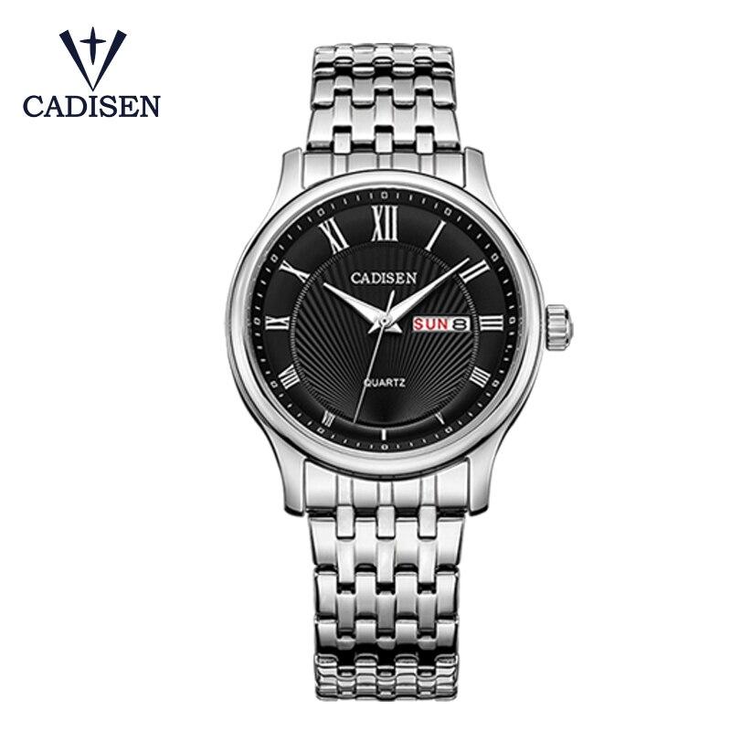CADISEN superior de la marca de lujo de los hombres de negocios vestido reloj de acero inoxidable reloj de pulsera de cuarzo analógico hombre relojes reloj Masculino 3ATM