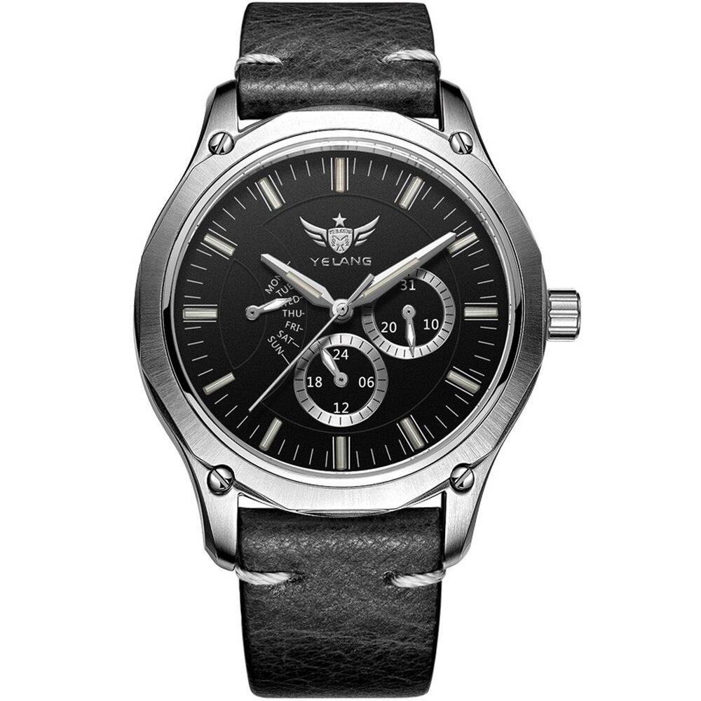 Reloj de cuarzo YELANG Tritium para hombre, T100, correa de Cuero Luminoso Flyback, reloj de pulsera deportivo resistente al agua, reloj de pulsera V1027