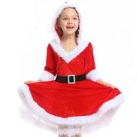 4 12t girl new year christmas miss santa claus costume for women child girls red velvet christmas princess dress for ladygirls