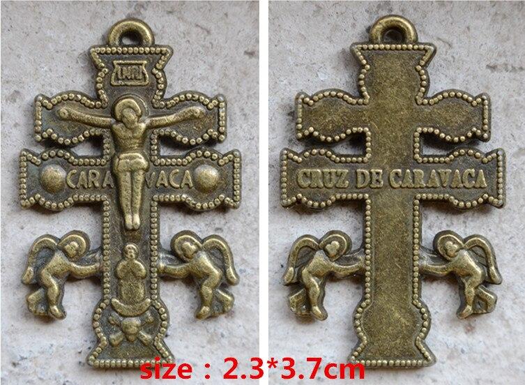 Regalos religiosos católicos Santa bronce envejecido vintage plateado crucifijo Cruz de Ángel