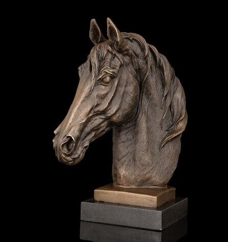 Copper decoration Fine Buddha Brass Best Selling Gift Horse Head Sculpture Bronze Marble base animal figurine Bust statue Bronze