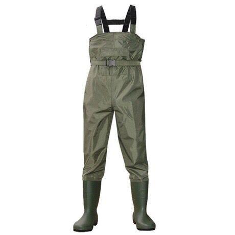 Al aire libre transpirable bolsillo del pecho largo wading pantalones camo impermeable PVC hombres mujeres pesca wader botas mono de zapatos Pantalones