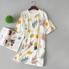 New 100% knitted cotton fresh Summer women nightdress pure cotton short sleeve nightgowns cartoon sleepwear sexy pyjamas women