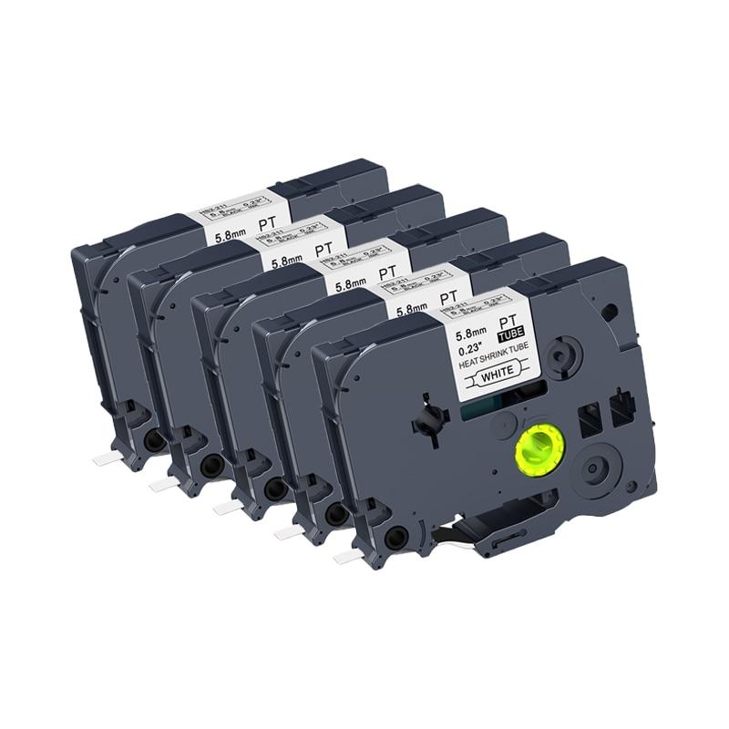 5 pces kingroad 5.8mm preto no branco HSe-211 HS2-211 tz etiqueta do tubo do psiquiatra do calor fita da etiqueta compatível para impressoras do irmão p-toque