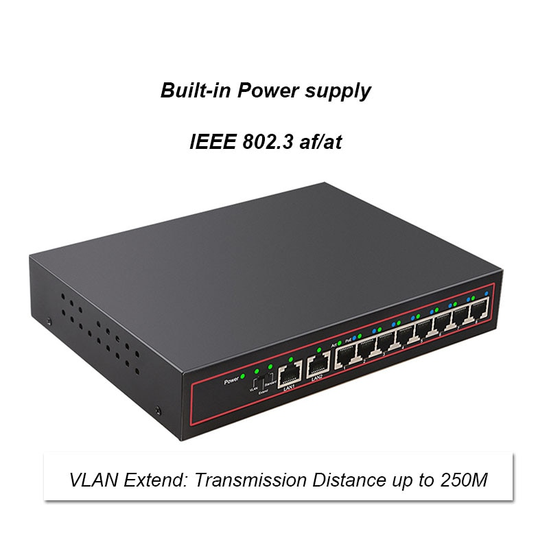 10 Port POE Switch 48V 10/100Mbps VlAN Network Ethernet Switch Full/Half Duplex Switch Ethernet for POE IP CCTV Camera