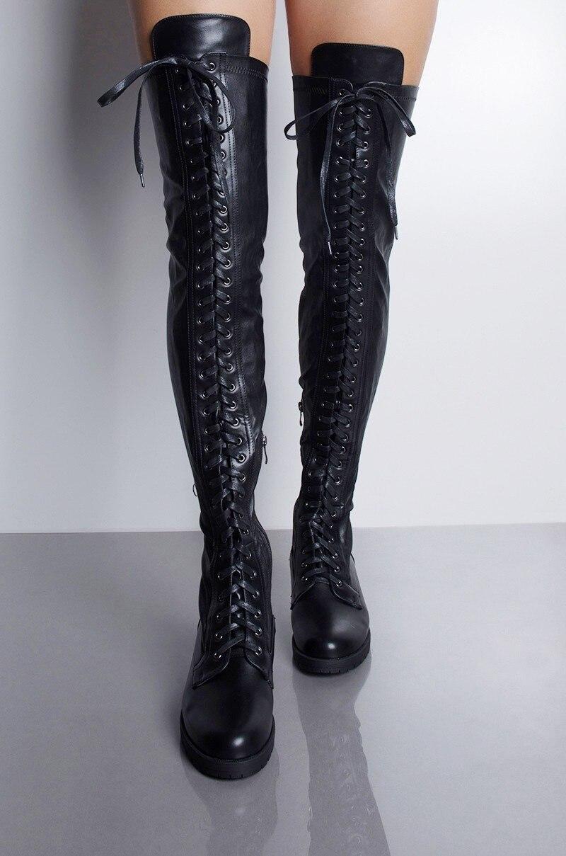 Botas altas de cuero negro con cordones de tacón bajo para mujer, botas altas hasta el muslo sexis por encima de la rodilla, zapatos informales para mujer, botas elásticas 39
