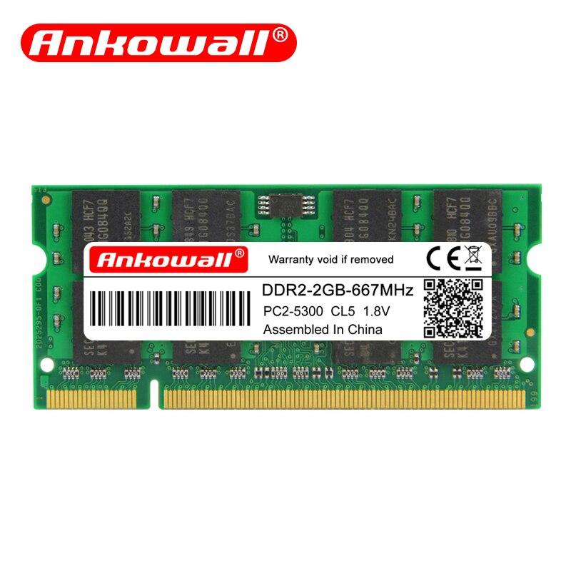 Ankowall notebook de memória ram ddr2, computador portátil, SO-DIMM 800 667mhz 200pin 1.8v garantia vitalícia