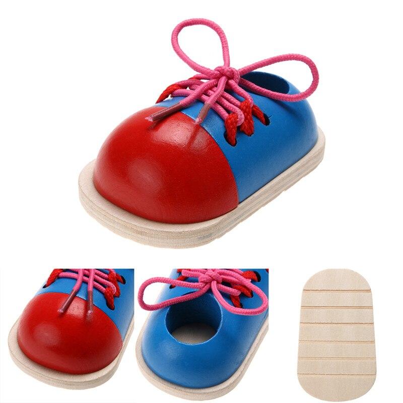 Детские обучающие игрушки Монтессори, деревянные игрушки для детей, обувь на шнурках для раннего образования, Обучающие игрушки Монтессори...