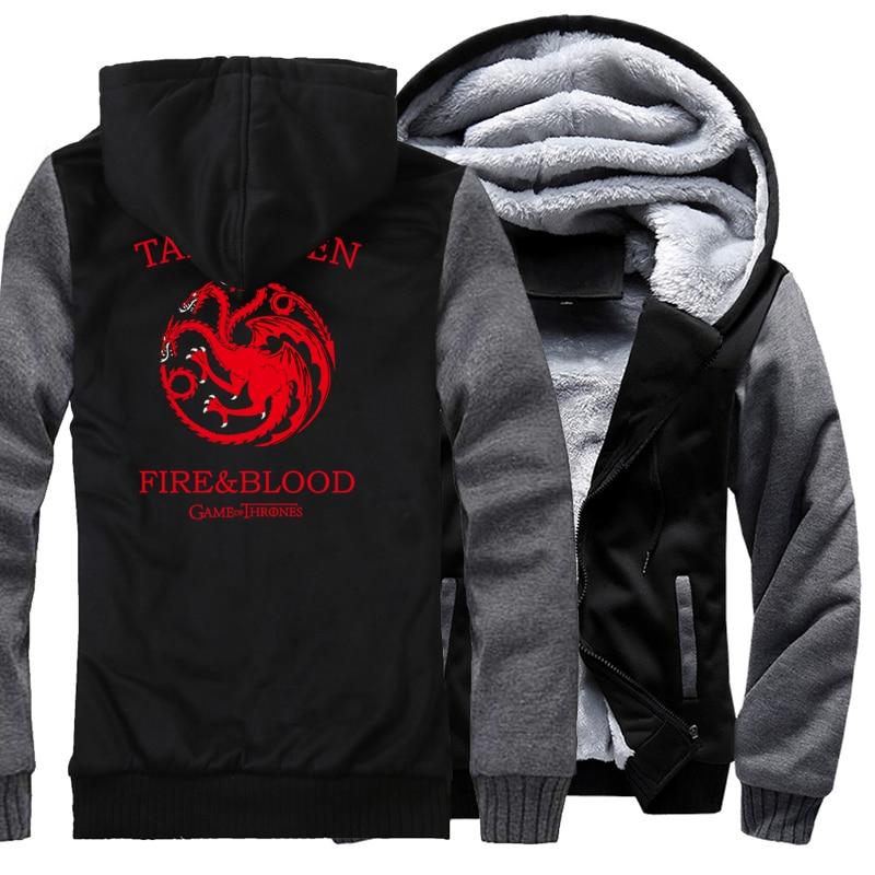 ¡Primavera 2019! sudaderas gruesas con capucha de vellón para hombre, sudadera Targaryen Fire & Blood, ropa informal estilo hip hop Harajuk, chaqueta con capucha de marca