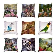 Housse de coussin motif perroquet   Vintage, étuis doreiller décoratifs blancs, belles plumes, fleurs rétro, siège maison, décor Polyester peau de pêche