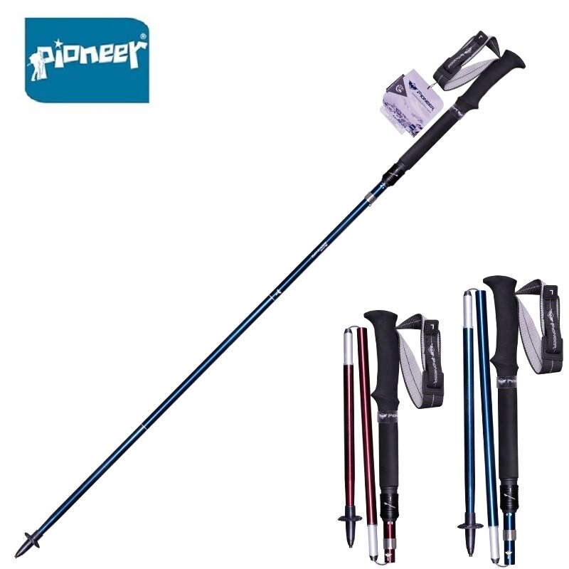 Pioneer 2 pacote folding trekking pólos de alumínio dobrável ajustável nordic bengalas turismo equipamentos de acampamento-1 par