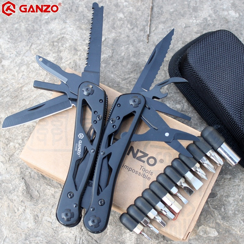 Ganzo Multitools G202B Multi Knife Plier Folding EDC Tools Camping Multifunctional Folding Plier Screwdriver Bits Mini Scissors splitman brand new multi tool folding knife plier multitools multifunctional edc tools outdoor camping survival scissors