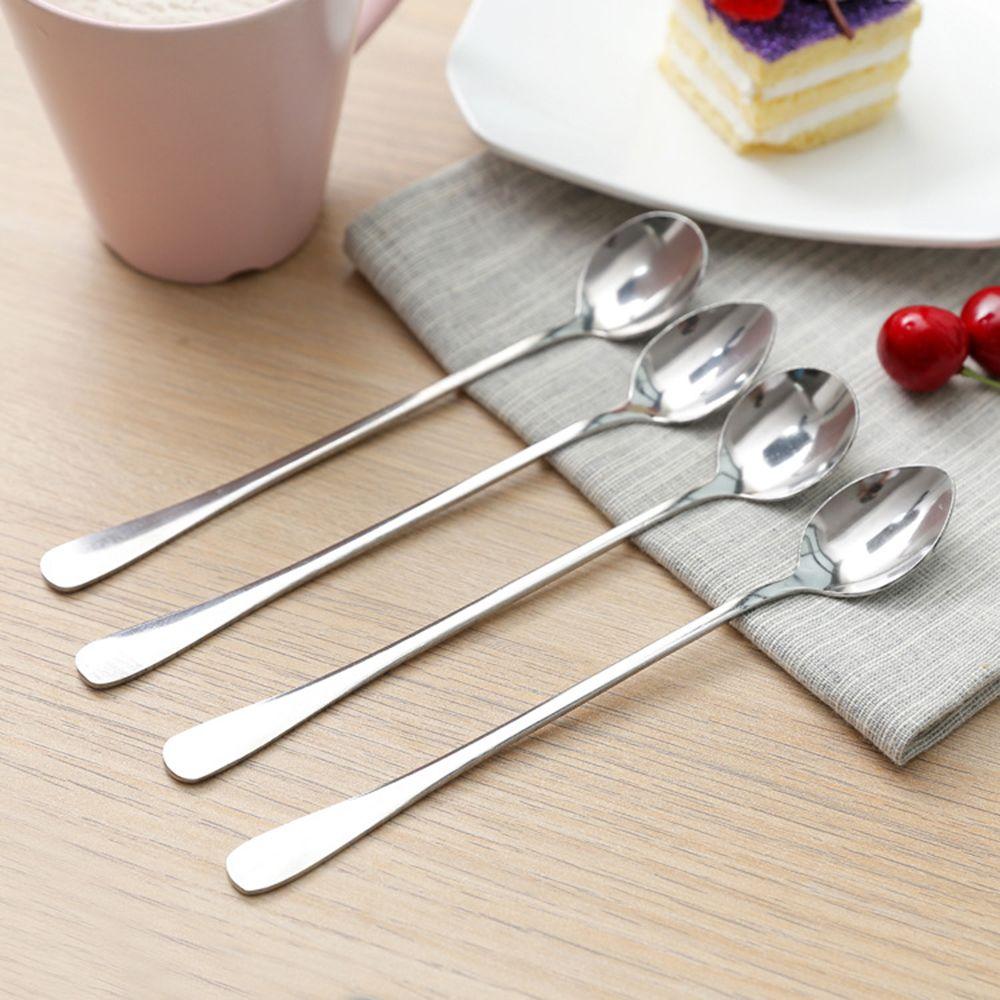Heißer 1 stücke Langstieligen Edelstahl Tee Kaffee Löffel Cocktail Eis Dessert Löffel Für Picknick Küche Zubehör Besteck