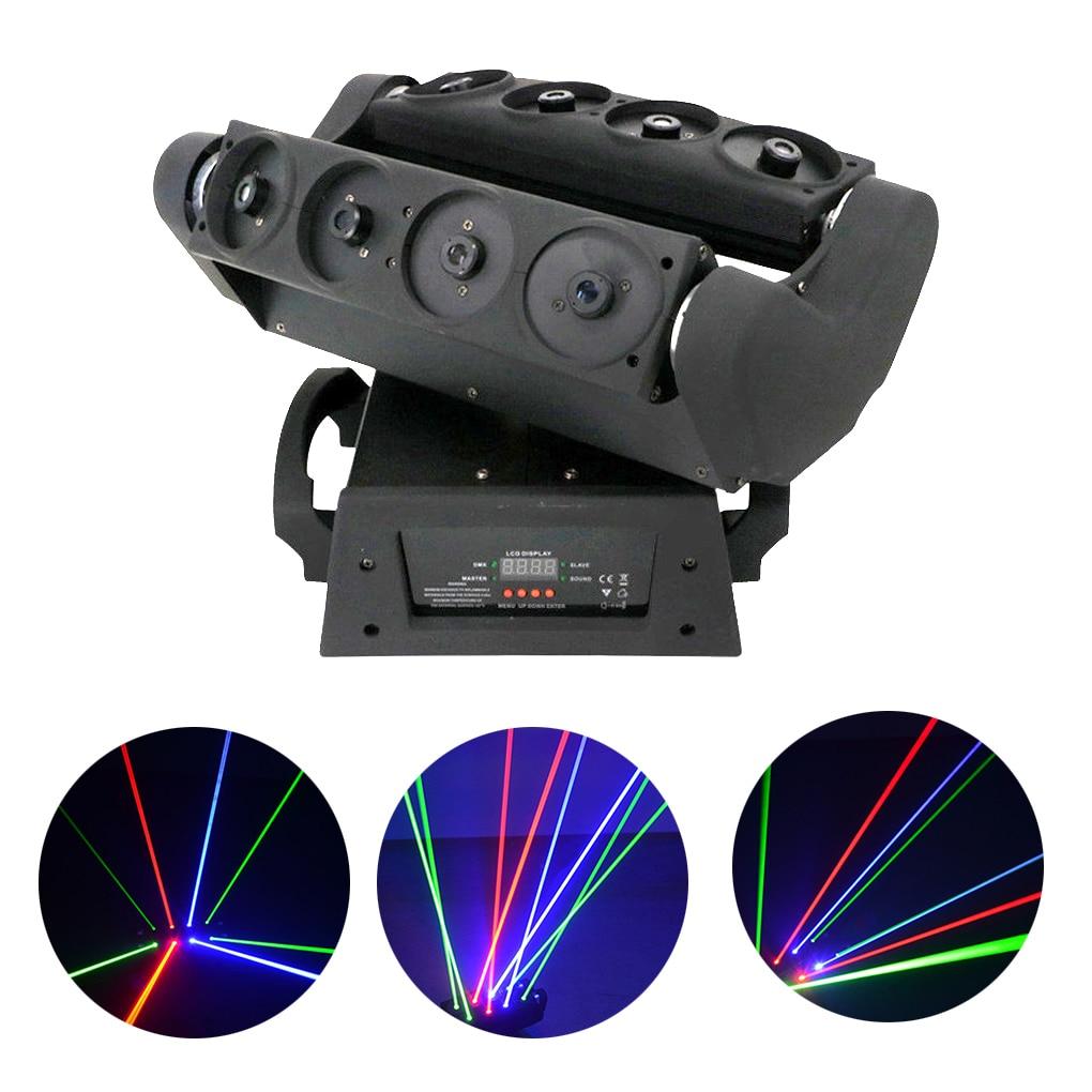 8 cabezas RGB Cabeza móvil verde araña haz Proyector luces láser Disco Fiesta de DJ DMX Cabeza Movil LED Proyector etapa iluminación