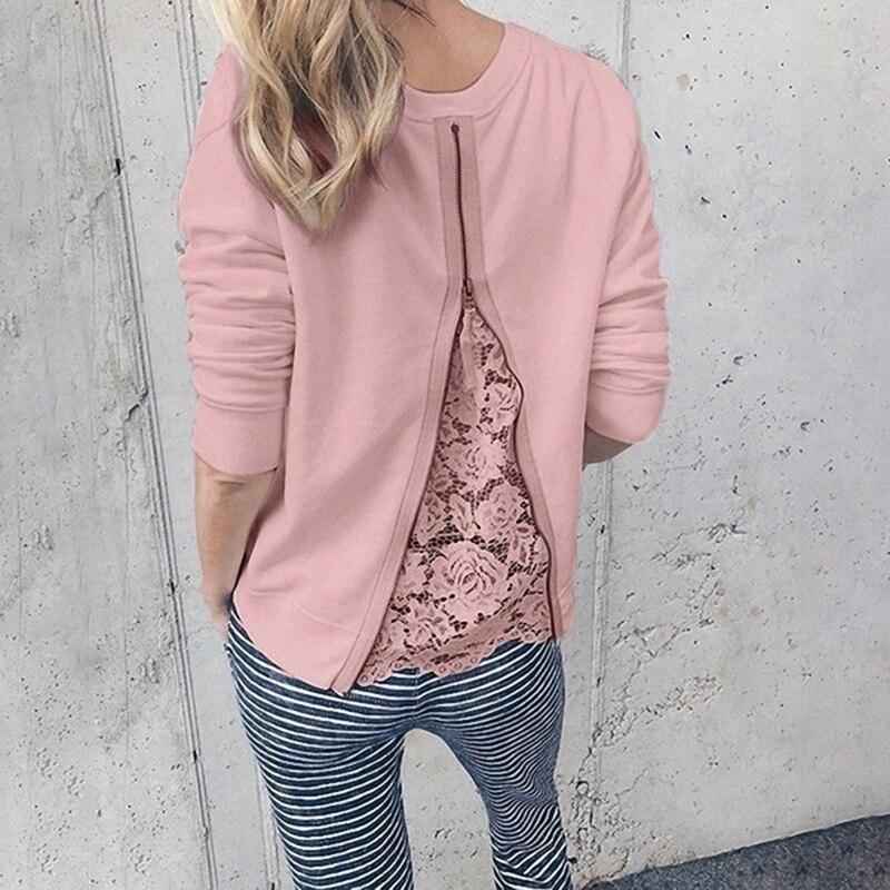 Blusa feminina manga comprida zíper, camisa feminina manga comprida justa tamanhos S-5XL