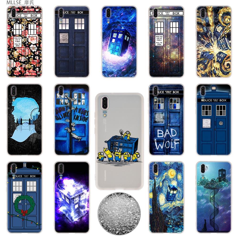 Teléfono cubierta suave para Huawei P40 P30 P20 pro P10 más P9 P8 lite 2017 samrt Z 2019 Floral TARDIS de Doctor Who