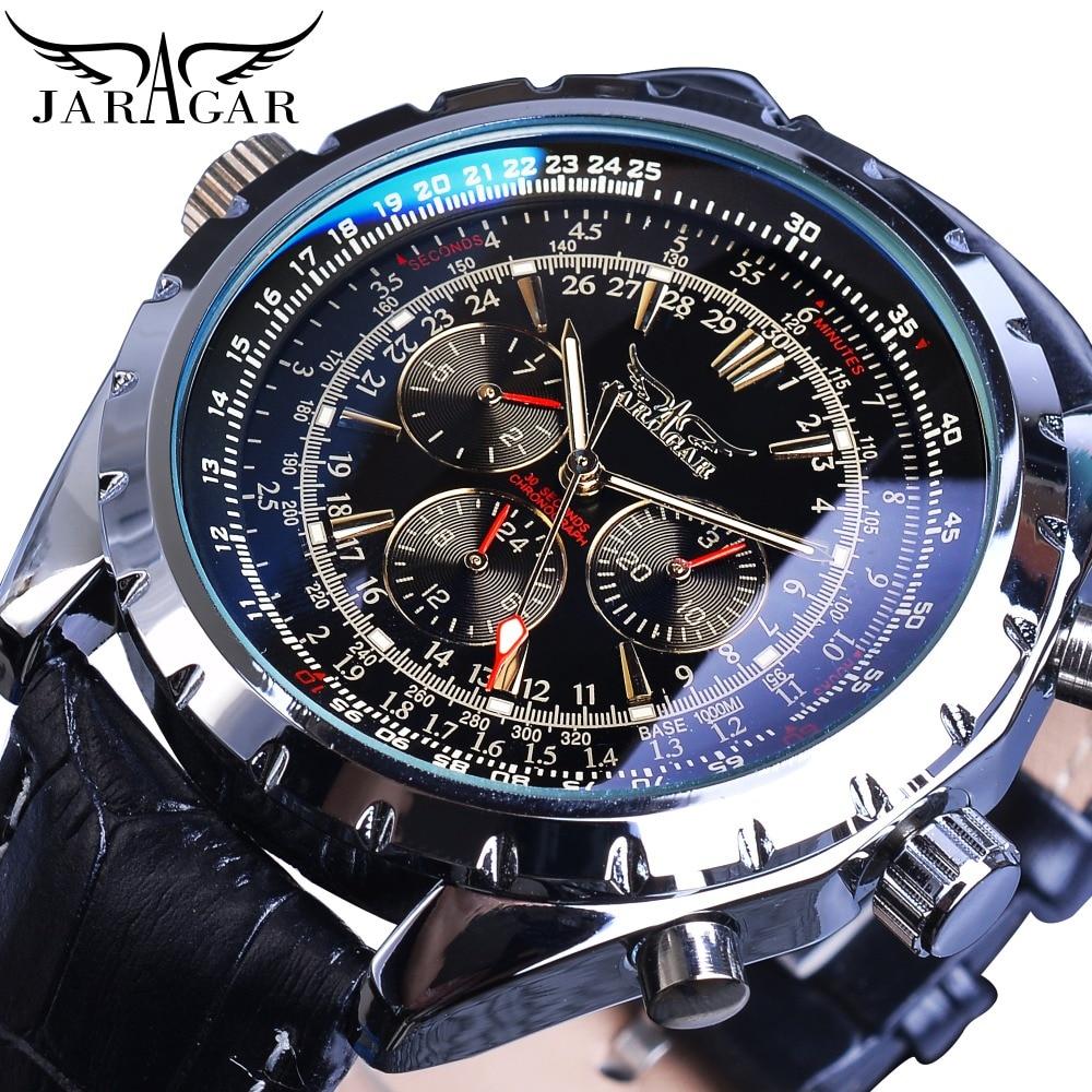 Jaragar التلقائي التقويم الميكانيكية الساعات الرياضية الطيار تصميم الرجال ساعة معصم العلامة التجارية الفاخرة ساعة الموضة الذكور الجلود