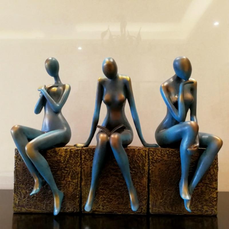 Figura abstracta moderna Estatua de la belleza escultura de resina creativa decoración del hogar Accesorios artesanías regalo de amigo