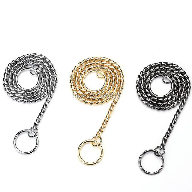 50 piezas Cadena de serpiente perro Show Collar Cadena de Metal pesado perro caminar entrenamiento Choke Collar fuerte correas básicas