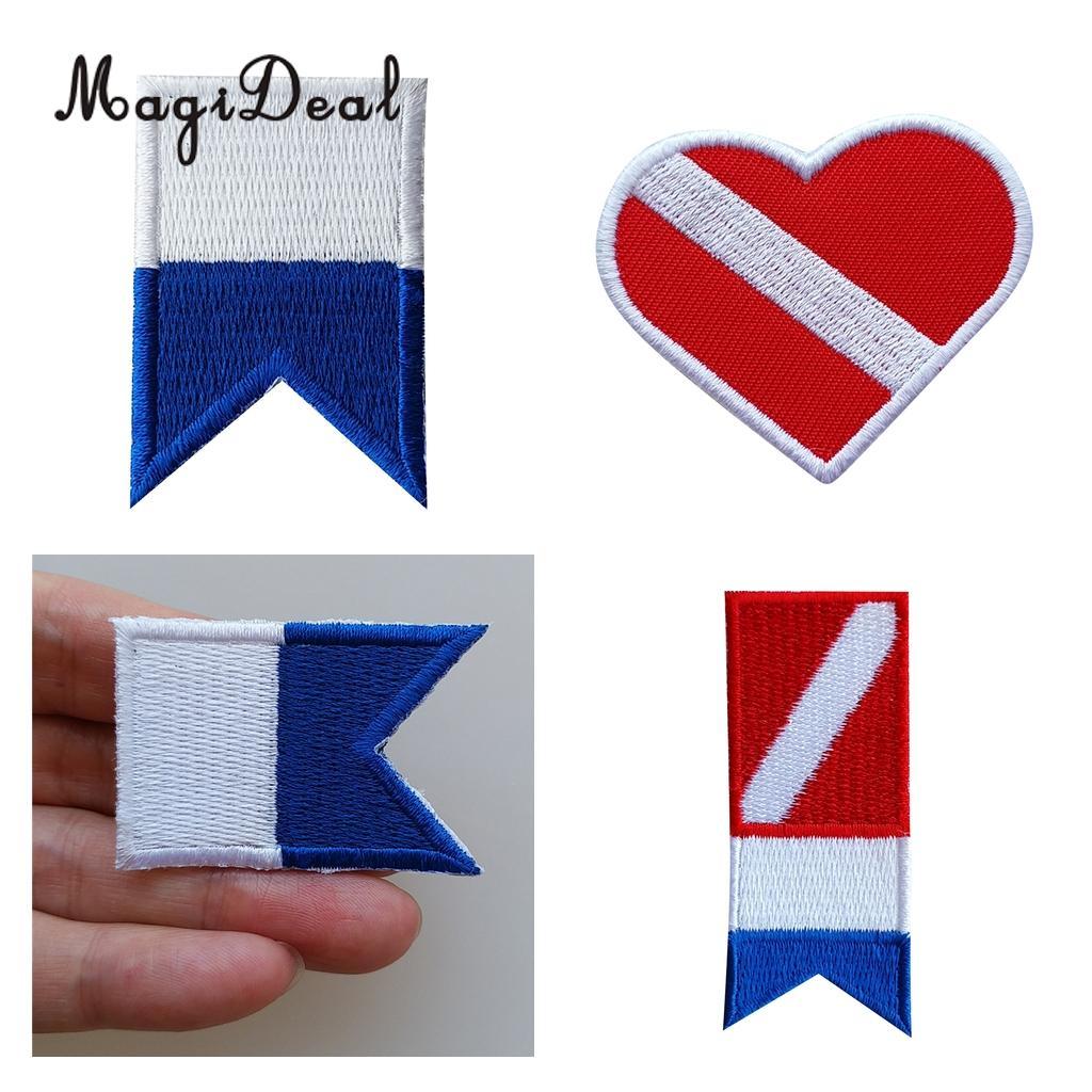 Mergulho mergulho mergulhador para baixo da bandeira costurar no remendo bordado alpha flag ferro-on bordado emblema colete saco remendos boné aplique