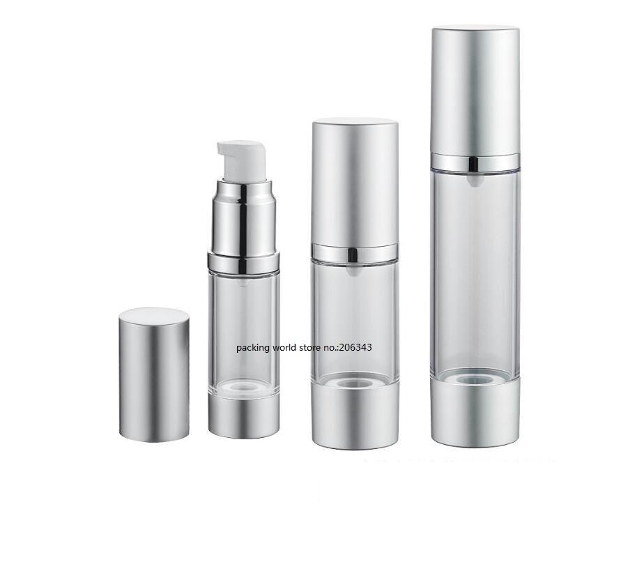 50 ML mate plata airless botella para loción emulsión suero líquido base blanqueamiento esencia recuperación complejo embalaje